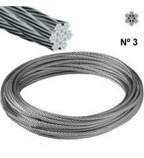 Cable Acero Galvanizado Rollo 25 M Ø 3 (6 X 7) +1 Alma Textil