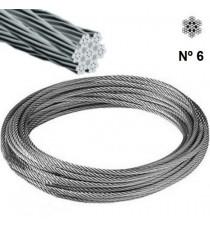 Cable Acero Galvanizado Rollo 25 M Ø 6 (6 X 19) +1 Alma Textil
