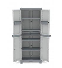 Armario de resina con 4 estantes wave gris
