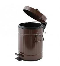 Papelera Metal con Pedal Tapa y Asas Chocolate 3 Litros MSV 144339