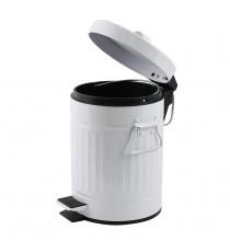 Papelera Metal con Pedal Tapa y Asas Blanco 3 Litros MSV 144304
