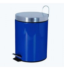 Papelera Metal con Pedal Tapa y Asa Azul Oscuro Liso 3 Litros MSV 100513