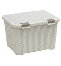 Caja Organizadora Plástico Mimbre Blanco Vintage 43 Litros Curver Style