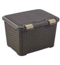 Caja Organizadora Plástico Mimbre Marron Chocolate 43 Litros Curver Style
