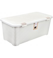 Caja Organizadora Plástico Mimbre Blanco Vintage 72 Litros Curver Style