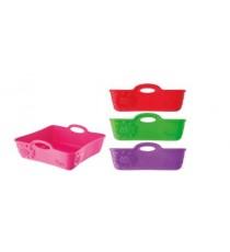 Cesta Pequeña Baja de Plastico Multiusos Colores Vigar 3552