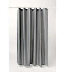 Cortina de Ducha de Baño Gris Lisa mas 12 Ganchos de Polyester 180 MM x 180 MM