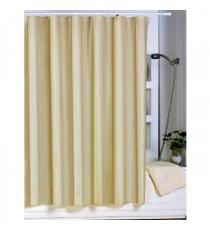 Cortina de Ducha de Baño Beige Lisa mas 12 Ganchos de Polyester 180 MM x 180 MM