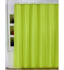Cortina de Ducha de Baño Verde Lisa mas 12 Ganchos de Polyester 180 MM x 180 MM