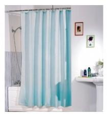 Cortina de Ducha de Baño Azul Cielo Lisa mas 12 Ganchos de Polyester 180 MM x 200 MM