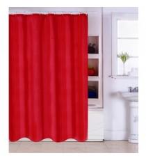 Cortina de Ducha de Baño de Polyester Roja Lisa mas 12 Ganchos 180 MM x 200 MM