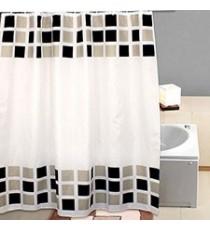 Cortina de Ducha de Baño de Polyester blanca con motivo Baldosas mas 12 Ganchos 180 MM x 200 MM