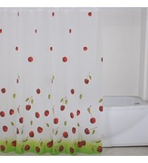 Cortina de Ducha de Baño de Polyester Blanca con motivo Cerezas mas 12 Ganchos 180 MM x 200 MM