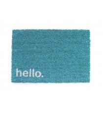 Felpudo de Fibra de Coco Hello Azul 40 CM x 60 CM