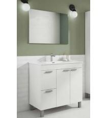 Mueble Baño Lavabo Aktiva Blanco Mas Espejo