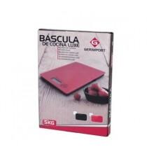 Balanza Electrónica Digital de Cocina Rectangular Vidrio Rojo