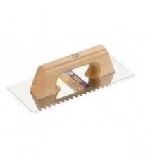 Llana rectangular inoxidable almenada 8 x 8 mm de 280 x 120 mm mango de madera - ALYCO
