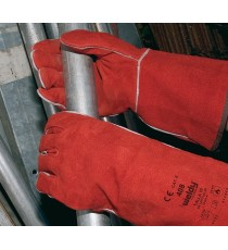Guantes Piel Serraje Soldador Rojo Weldy 408 Talla XL