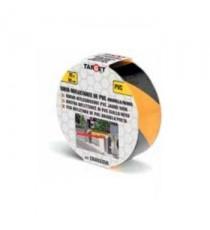 Cinta De Señalización Reflectante PVC Amarilla Negra 50MM