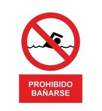 """Señal """"Prohibido Bañarse"""" 42 x 30 cm PVC"""