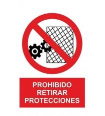 "Señal ""Prohibido Retirar Protecciones"" 42 x 30 cm PVC"
