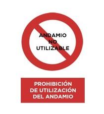 """Señal """" Prohibición De Utilización Del Andamio"""" Mediana 42 x 30 CM"""