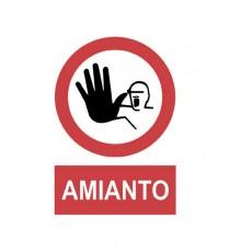 """Señal """"Prohibido el paso al personal. Amianto."""" 43 x 30 cm PVC"""