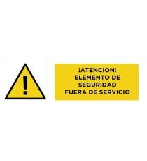 """Señal """"Atención! Seguridad Fuera De Servicio"""" 24 X 60 Cm PVC"""