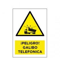 "Señal "" ¡Peligro! Galibo Telefonica"" Mediana 42 X 30CM"