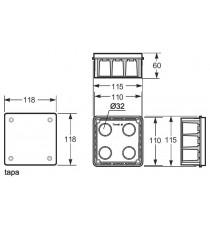 Caja de empotrar paredes huecas 100x100x45 mm