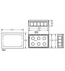 Caja de empotrar paredes huecas 200x130x60 mm