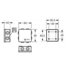 Caja Estanca Exterior Cuadrada 80X80X36 mm