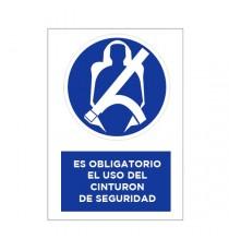 """Señal """"Uso obligatorio de cinturón de seguridad"""" 35 x 25 cm PVC"""