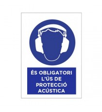 """Señal """"És Obligatori L'ús De Protecció Acústica"""" 42 x 30 cm PVC"""