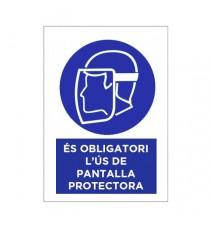 """Señal """"És Obligatori L'ús De Pantalla Protectora"""" 42 x 30 cm PVC"""