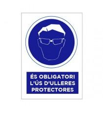 """Señal """"És obligatori L'ús D'ulleres Protectores"""" 42 x 30 cm PVC"""