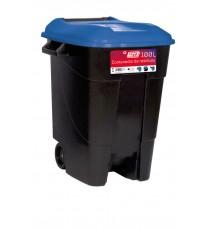 Contenedor de Residuos Negro Tapa Azul 100 Litros