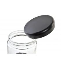Bote De Cristal Con Tapa Negra Mediano