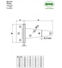 Bisagra Mod.550 130 MM Zincado AMIG