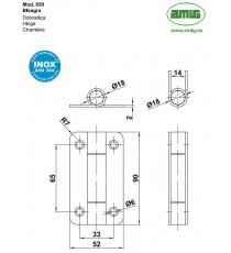 Bisagra Mod.650 90x52x2 MM Inox 18/8 AMIG