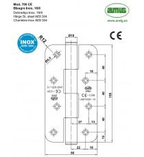 Bisagra Mod.700 150x80x3 MM Inox 18/8 CE AMIG