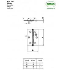 Bisagra Mod.1002 50x40x2 MM Latón Pulido AMIG