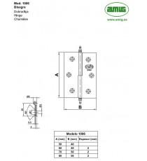 Bisagra Mod.1006 Derecha 80x50x2 mm Latón Pulido AMIG