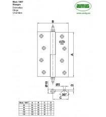 Bisagra Mod.1007 Derecha 90x60x2.5 mm Latón Pulido AMIG