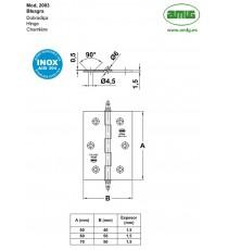 Bisagra Mod.2003 70x50x1.5 MM Inox 18/8 Mate AMIG