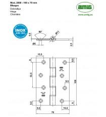 Bisagra Mod.2088 100x70x2.5 MM Inox 18/8 AMIG