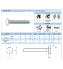 Tornillo Rosca Métrica A2 DIN-933 M12 X 30 10 Unidades