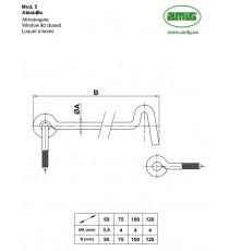 Aldabilla Para Contraventana 100 MM Modelo 5