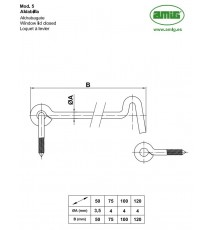 Aldabilla Para Contraventana 75 MM Modelo 5