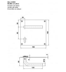 Manilla placa de 180x180 con bocallave 85mm